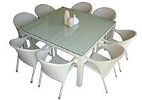 Комплект: обеденный стол, 8 стульев