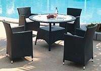 Садовая мебель: 4 стула и обеденный стол