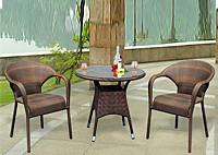 Садовая мебель: 2 стула и круглый стол