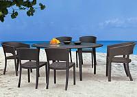 Садовая мебель: 6 стульев и круглый стол